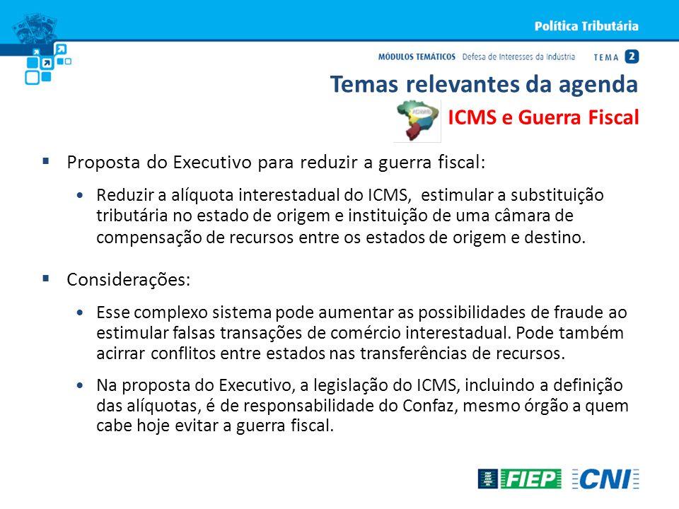 Proposta do Executivo para reduzir a guerra fiscal: Reduzir a alíquota interestadual do ICMS, estimular a substituição tributária no estado de origem