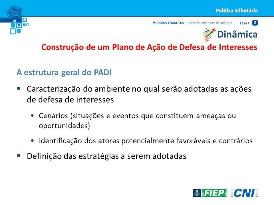 A estrutura geral do PADI Caracterização do ambiente no qual serão adotadas as ações de defesa de interesses Cenários (situações e eventos que constit