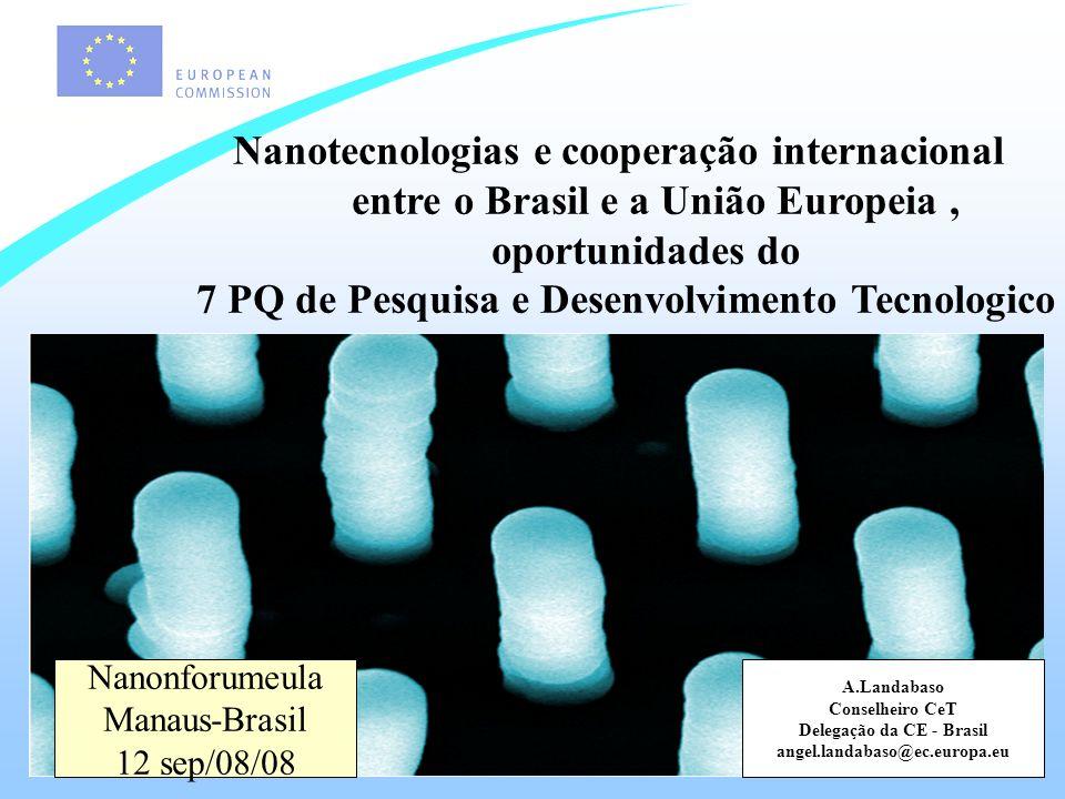 Nanotec na UE Nanotecnologia é uma area com prospectos altamente promissores para transformar pesquisa básica em innovações de sucesso.
