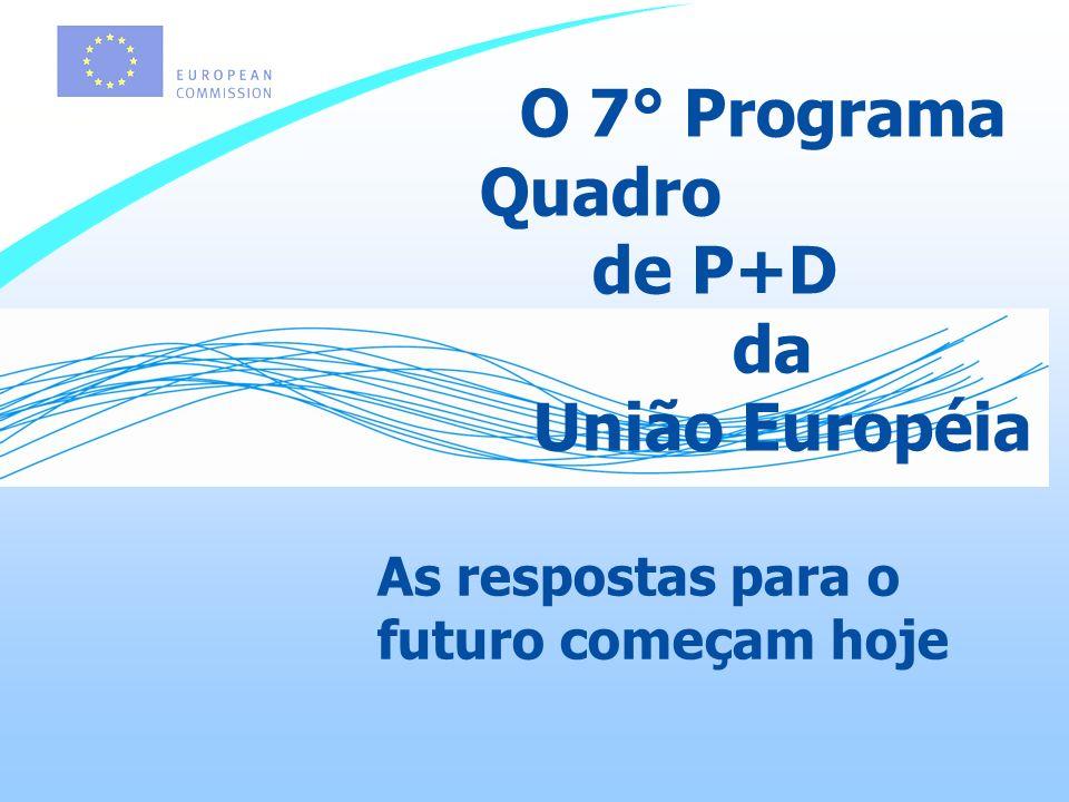 As respostas para o futuro começam hoje O 7° Programa Quadro de P+D da União Européia
