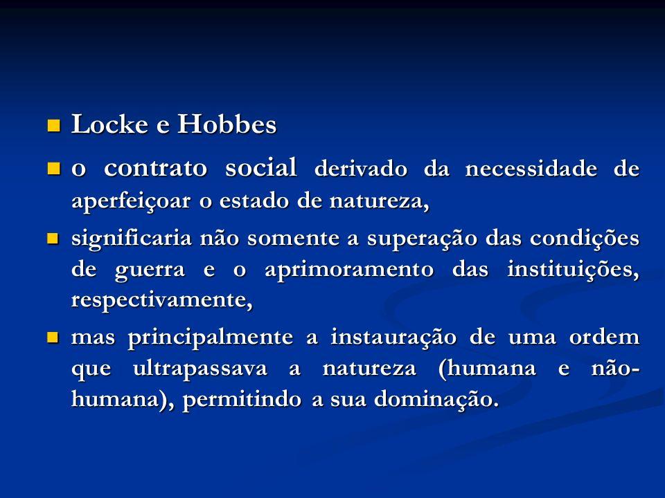 Locke e Hobbes Locke e Hobbes o contrato social derivado da necessidade de aperfeiçoar o estado de natureza, o contrato social derivado da necessidade