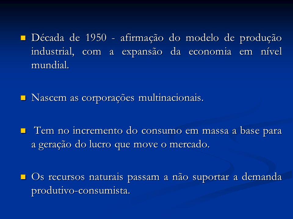 Década de 1950 - afirmação do modelo de produção industrial, com a expansão da economia em nível mundial. Década de 1950 - afirmação do modelo de prod