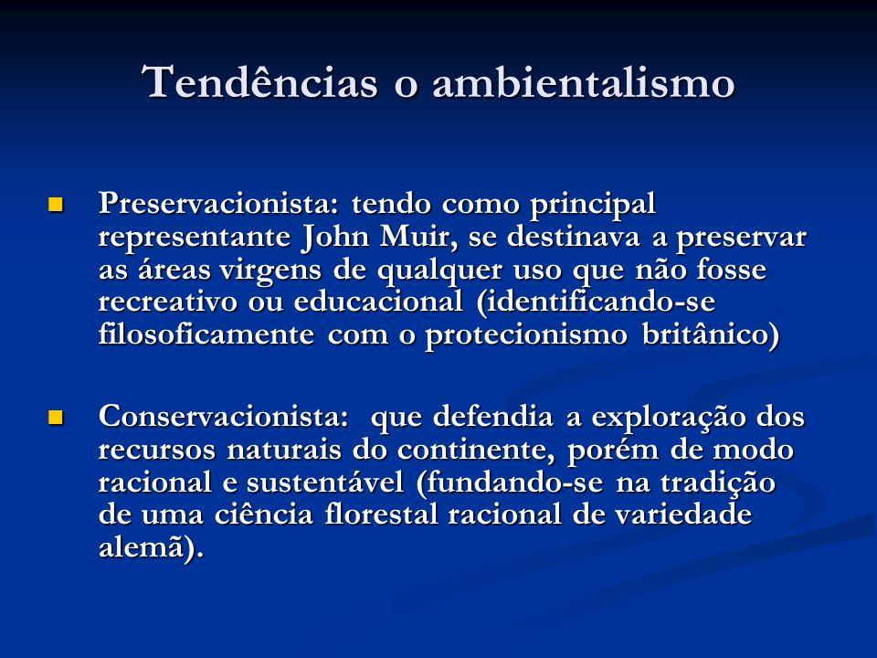 Tendências o ambientalismo Preservacionista: tendo como principal representante John Muir, se destinava a preservar as áreas virgens de qualquer uso q