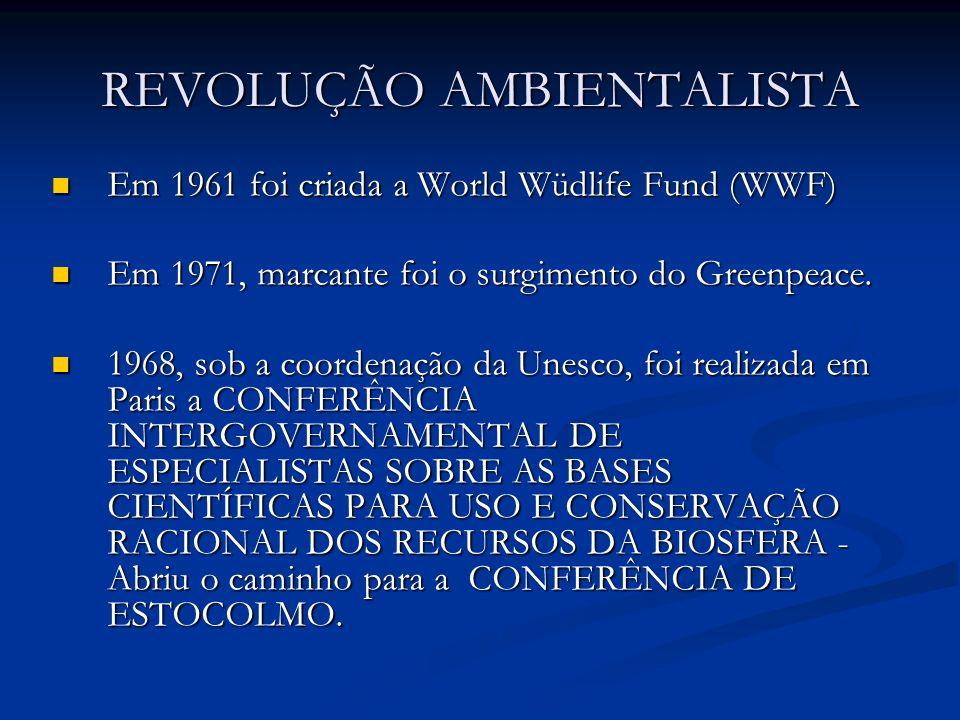 REVOLUÇÃO AMBIENTALISTA Em 1961 foi criada a World Wüdlife Fund (WWF) Em 1961 foi criada a World Wüdlife Fund (WWF) Em 1971, marcante foi o surgimento