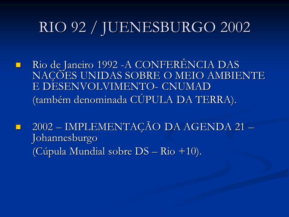 RIO 92 / JUENESBURGO 2002 Rio de Janeiro 1992 -A CONFERÊNCIA DAS NAÇÕES UNIDAS SOBRE O MEIO AMBIENTE E DESENVOLVIMENTO- CNUMAD Rio de Janeiro 1992 -A