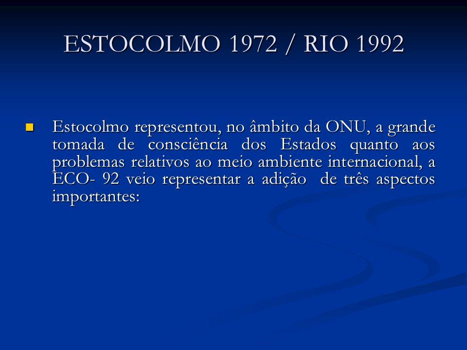 ESTOCOLMO 1972 / RIO 1992 Estocolmo representou, no âmbito da ONU, a grande tomada de consciência dos Estados quanto aos problemas relativos ao meio a