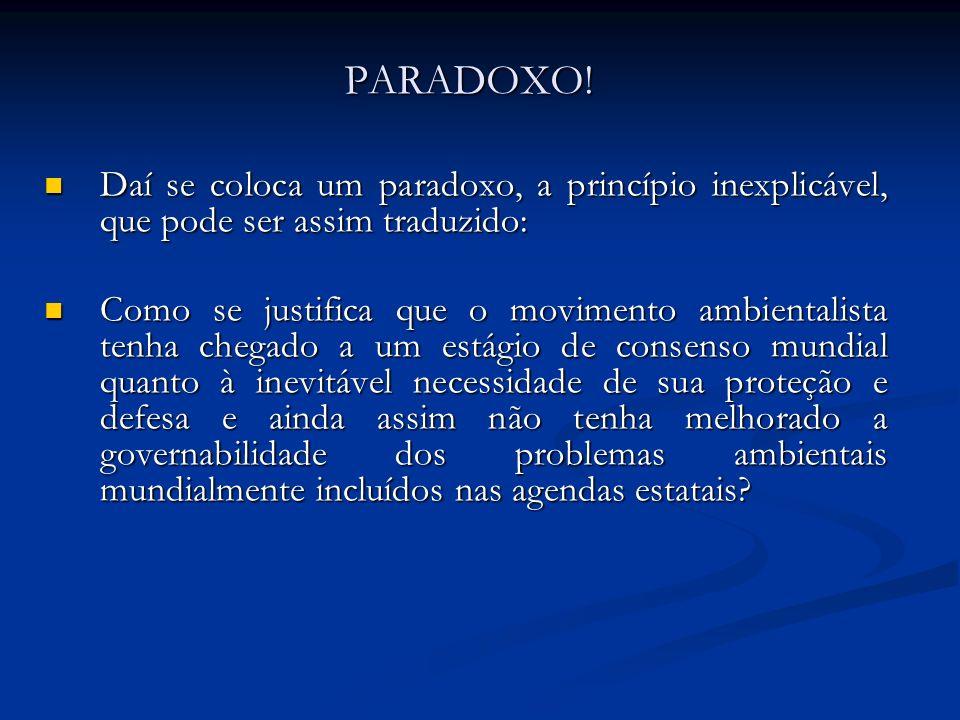 PARADOXO! Daí se coloca um paradoxo, a princípio inexplicável, que pode ser assim traduzido: Daí se coloca um paradoxo, a princípio inexplicável, que