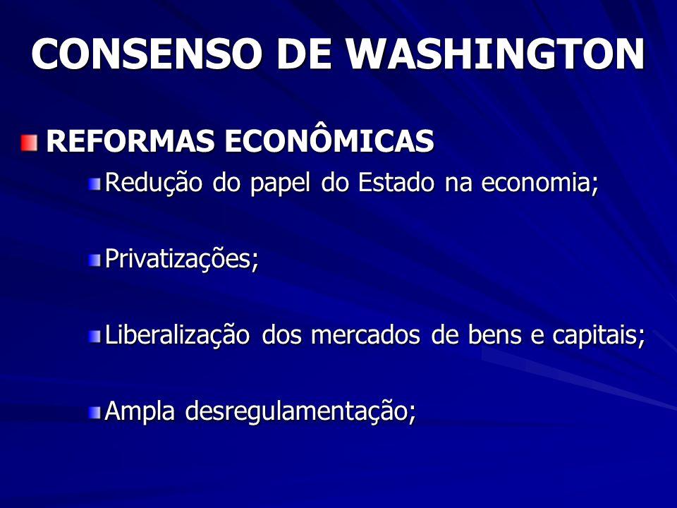 CONSENSO DE WASHINGTON REFORMAS ECONÔMICAS Redução do papel do Estado na economia; Privatizações; Liberalização dos mercados de bens e capitais; Ampla desregulamentação;