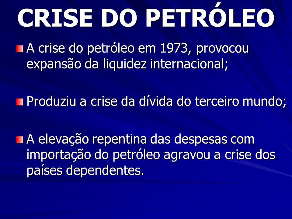 CRISE DO PETRÓLEO A crise do petróleo em 1973, provocou expansão da liquidez internacional; Produziu a crise da dívida do terceiro mundo; A elevação repentina das despesas com importação do petróleo agravou a crise dos países dependentes.