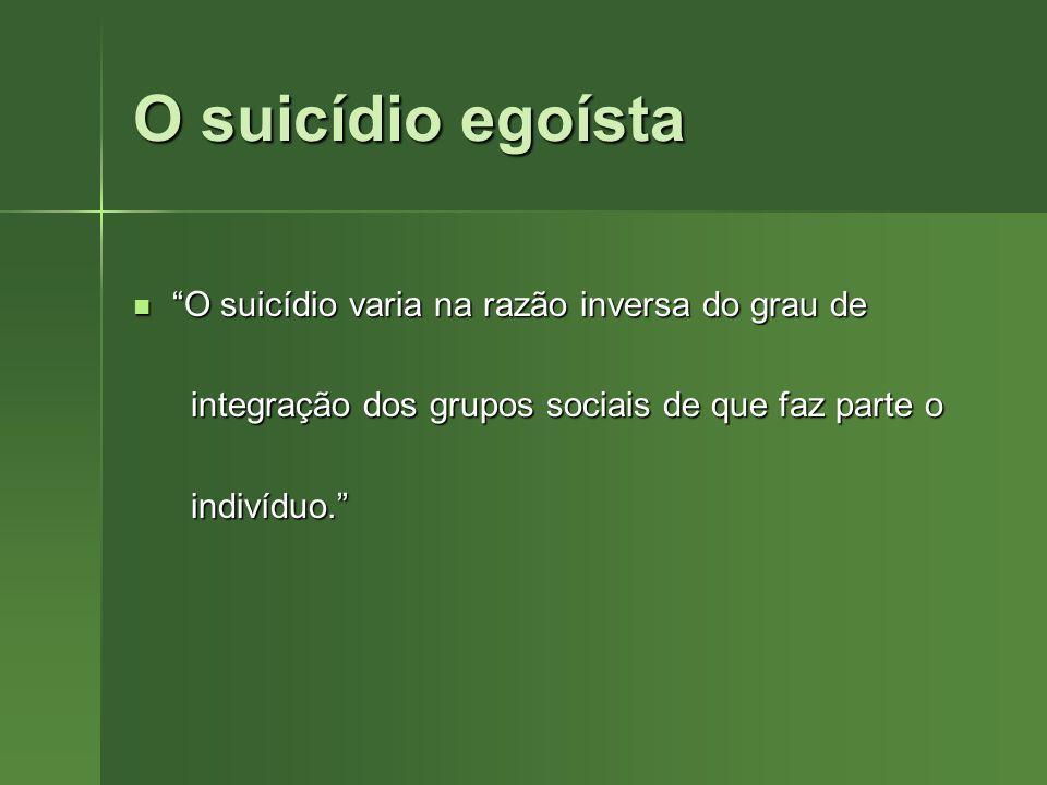O suicídio egoísta O suicídio varia na razão inversa do grau de O suicídio varia na razão inversa do grau de integração dos grupos sociais de que faz