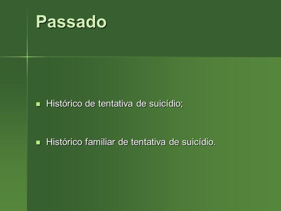 Passado Histórico de tentativa de suicídio; Histórico de tentativa de suicídio; Histórico familiar de tentativa de suicídio. Histórico familiar de ten