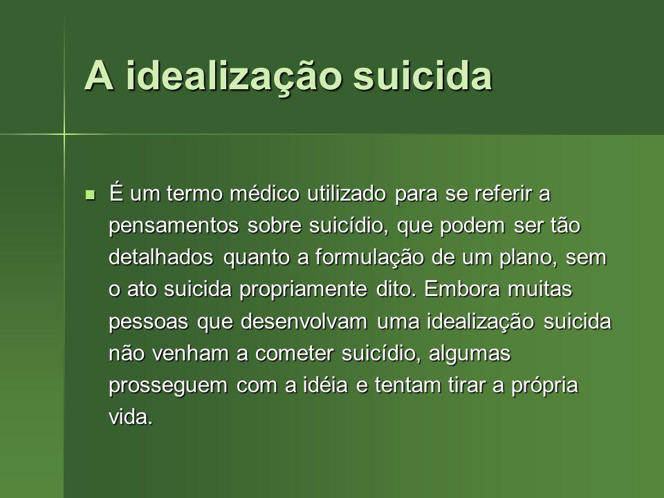 A idealização suicida É um termo médico utilizado para se referir a É um termo médico utilizado para se referir a pensamentos sobre suicídio, que pode