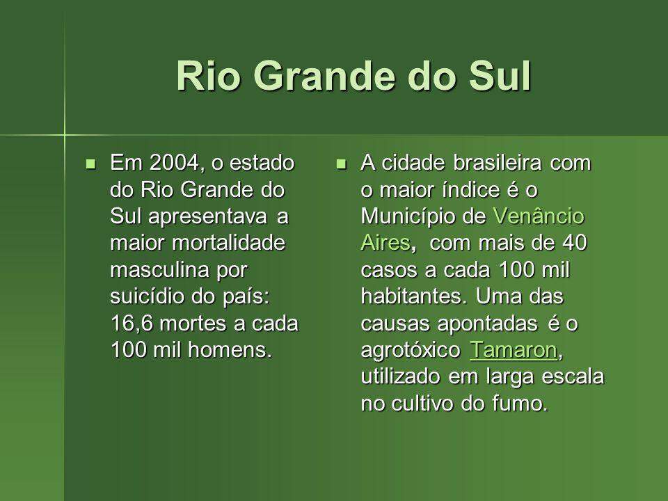 Rio Grande do Sul Em 2004, o estado do Rio Grande do Sul apresentava a maior mortalidade masculina por suicídio do país: 16,6 mortes a cada 100 mil ho