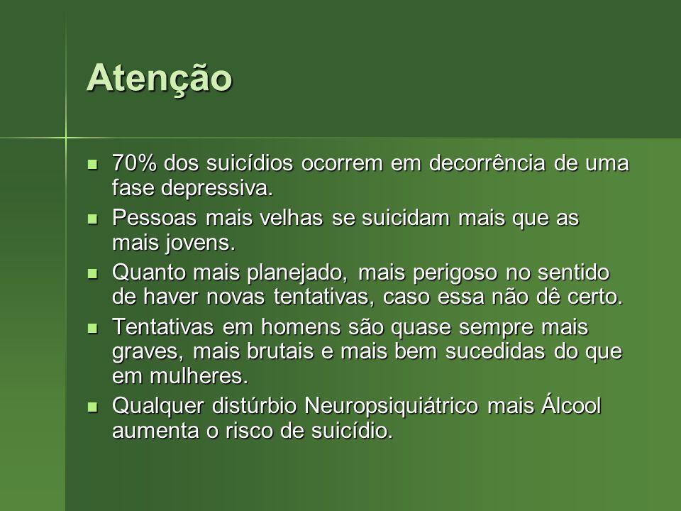Atenção 70% dos suicídios ocorrem em decorrência de uma fase depressiva. 70% dos suicídios ocorrem em decorrência de uma fase depressiva. Pessoas mais