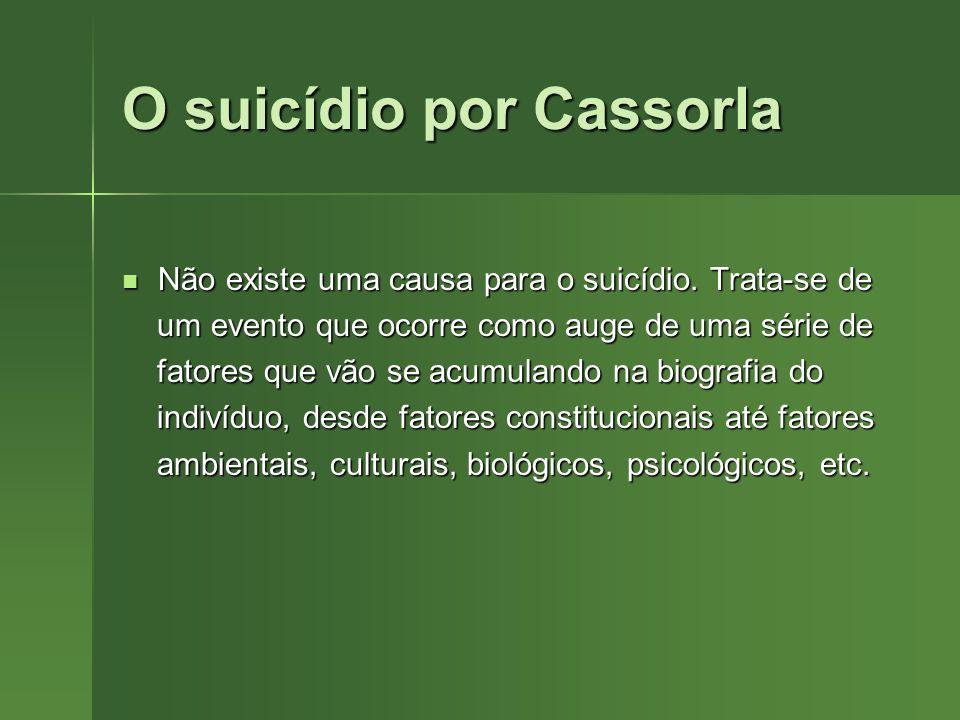 O suicídio por Cassorla Não existe uma causa para o suicídio. Trata-se de Não existe uma causa para o suicídio. Trata-se de um evento que ocorre como