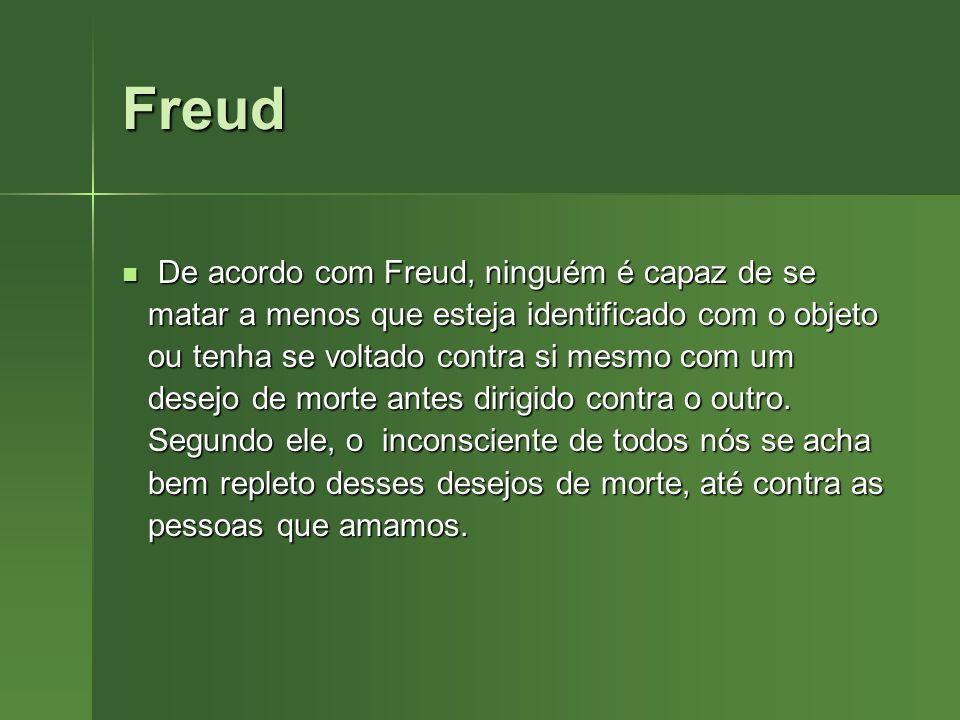 Freud De acordo com Freud, ninguém é capaz de se De acordo com Freud, ninguém é capaz de se matar a menos que esteja identificado com o objeto matar a