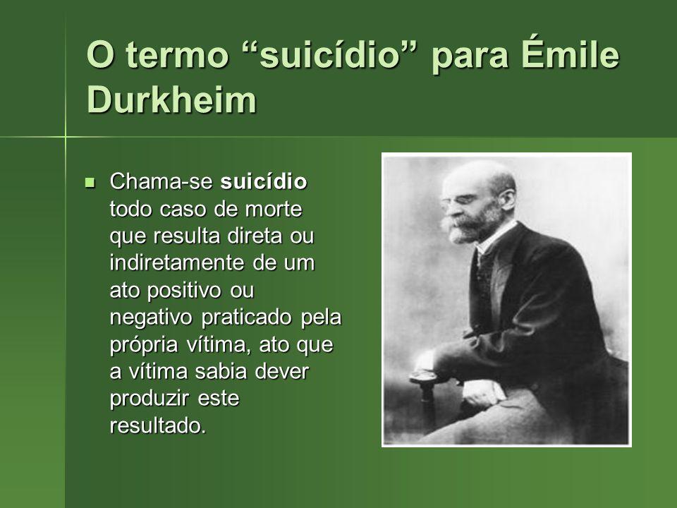 O termo suicídio para Émile Durkheim Chama-se suicídio todo caso de morte que resulta direta ou indiretamente de um ato positivo ou negativo praticado