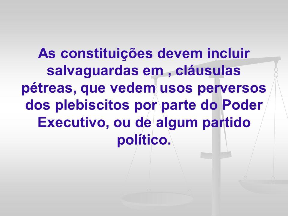 No entanto, também é um pressuposto para a viabilização do jogo democrático a fixação de regras e procedimentos claros que respaldem a atuação dos cidadãos em todas as etapas relacionadas à sua participação política.
