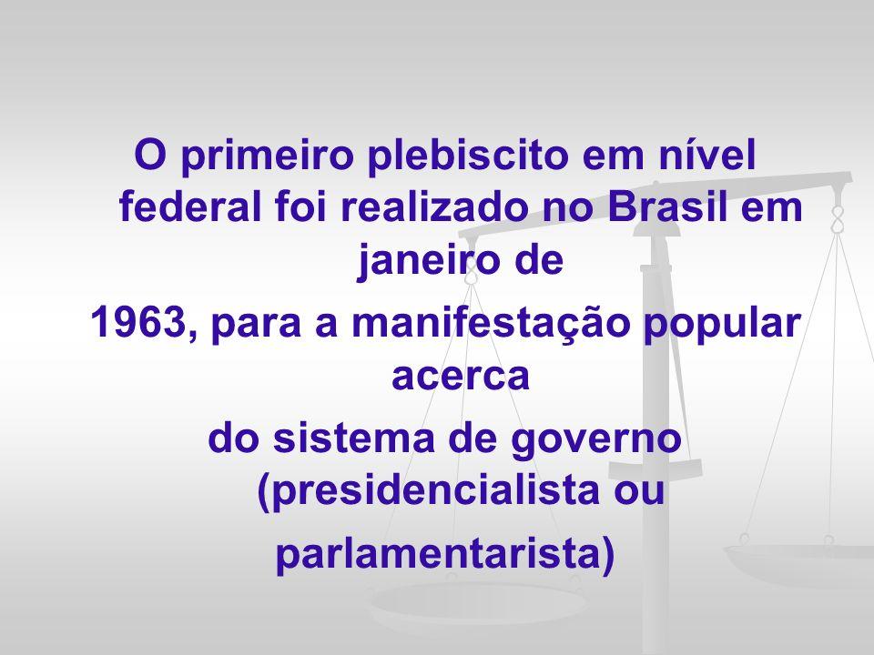 Somente em 18 de novembro de 1998, dez anos após a promulgação da Constituição Federal, foi promulgada a Lei 9.709/98, com o intuito de regulamentar os mecanismos de participação popular no Brasil, previstos nos incisos I, II e III, do art.