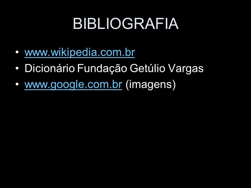 BIBLIOGRAFIA www.wikipedia.com.br Dicionário Fundação Getúlio Vargas www.google.com.br (imagens)www.google.com.br