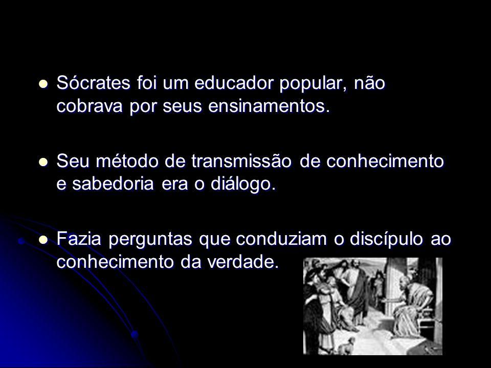 Sócrates foi um educador popular, não cobrava por seus ensinamentos. Sócrates foi um educador popular, não cobrava por seus ensinamentos. Seu método d