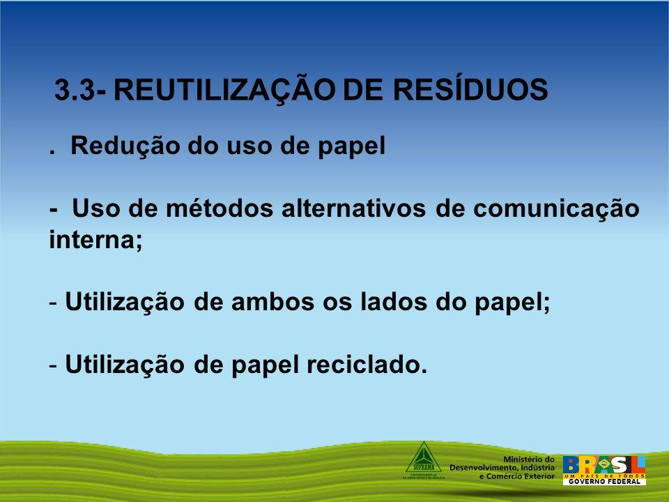 GOVERNO FEDERAL. Redução do uso de papel - Uso de métodos alternativos de comunicação interna; - Utilização de ambos os lados do papel; - Utilização d
