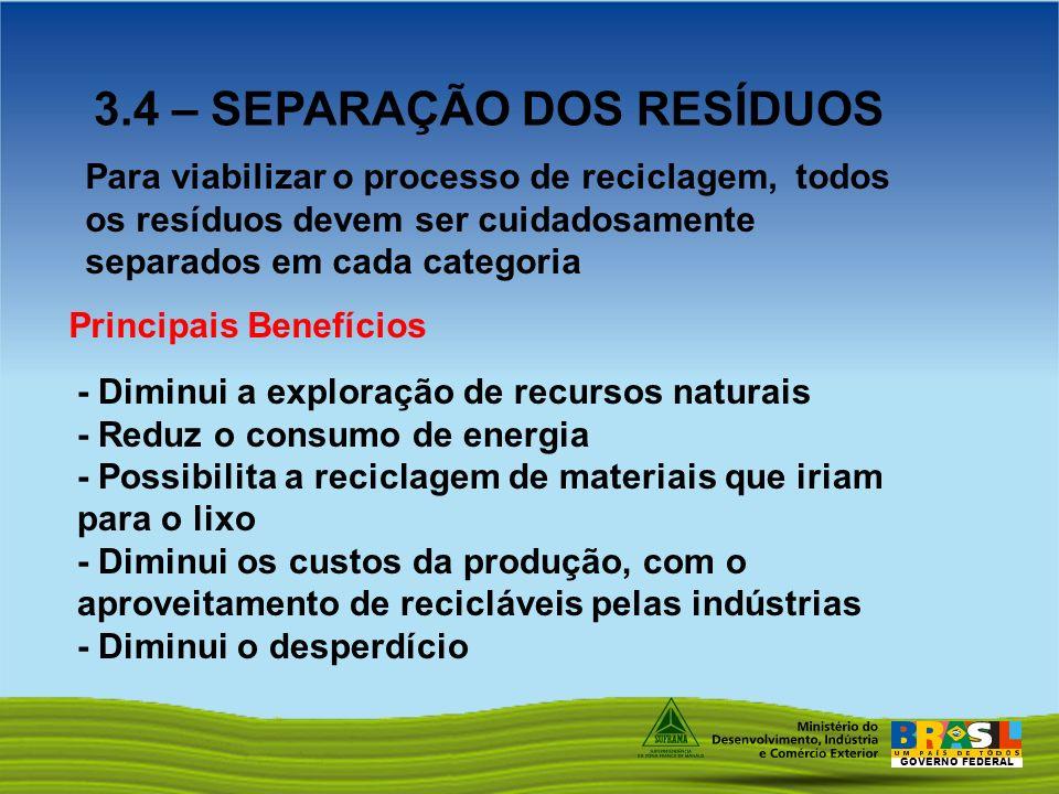 GOVERNO FEDERAL 3.4 – SEPARAÇÃO DOS RESÍDUOS Principais Benefícios Para viabilizar o processo de reciclagem, todos os resíduos devem ser cuidadosament
