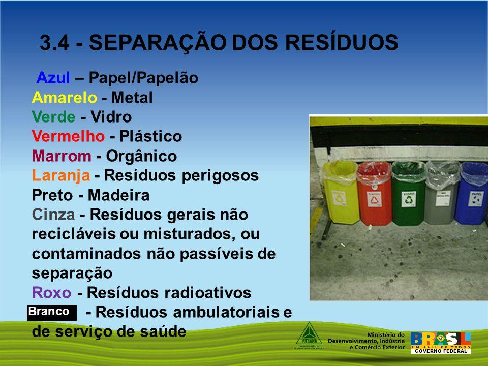 GOVERNO FEDERAL Azul – Papel/Papelão Amarelo - Metal Verde - Vidro Vermelho - Plástico Marrom - Orgânico Laranja - Resíduos perigosos Preto - Madeira