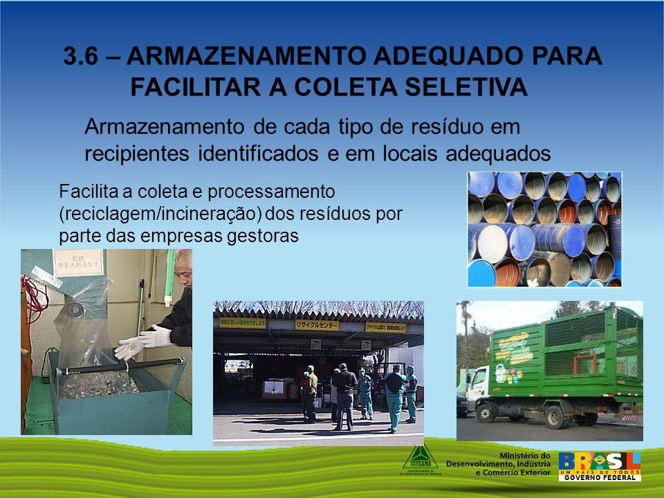 GOVERNO FEDERAL 3.6 – ARMAZENAMENTO ADEQUADO PARA FACILITAR A COLETA SELETIVA Armazenamento de cada tipo de resíduo em recipientes identificados e em