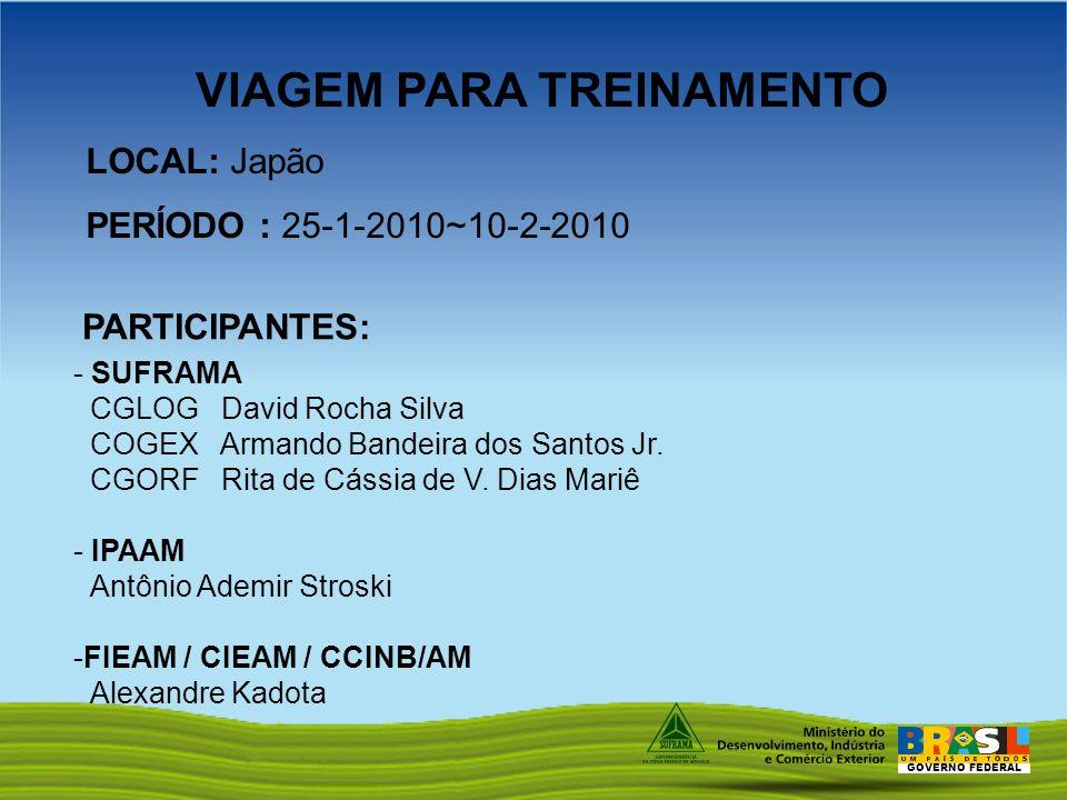 GOVERNO FEDERAL LOCAL: Japão PERÍODO : 25-1-2010~10-2-2010 PARTICIPANTES: - SUFRAMA CGLOG David Rocha Silva COGEX Armando Bandeira dos Santos Jr. CGOR