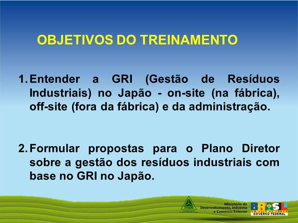 GOVERNO FEDERAL 1.Entender a GRI (Gestão de Resíduos Industriais) no Japão - on-site (na fábrica), off-site (fora da fábrica) e da administração. 2.Fo