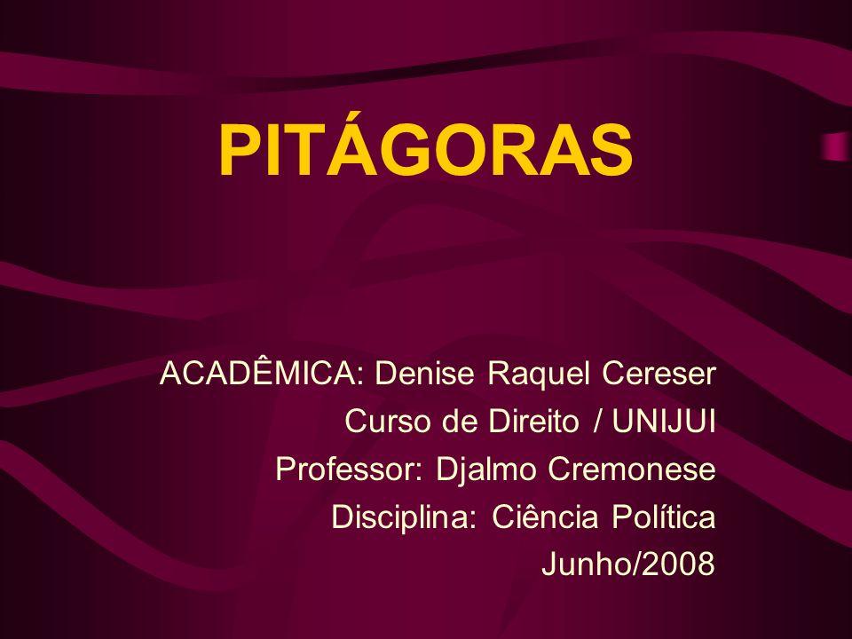 PITÁGORAS ACADÊMICA: Denise Raquel Cereser Curso de Direito / UNIJUI Professor: Djalmo Cremonese Disciplina: Ciência Política Junho/2008