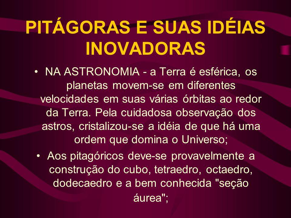 PITÁGORAS E SUAS IDÉIAS INOVADORAS NA ASTRONOMIA - a Terra é esférica, os planetas movem-se em diferentes velocidades em suas várias órbitas ao redor