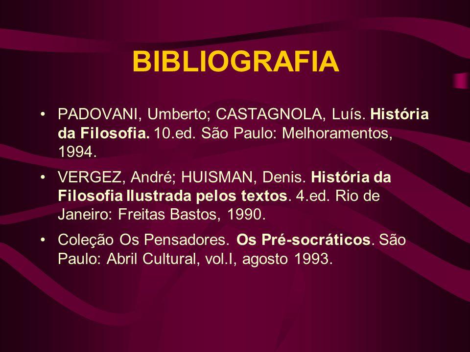 BIBLIOGRAFIA PADOVANI, Umberto; CASTAGNOLA, Luís. História da Filosofia. 10.ed. São Paulo: Melhoramentos, 1994. VERGEZ, André; HUISMAN, Denis. Históri