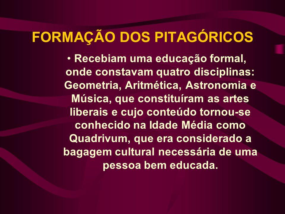 FORMAÇÃO DOS PITAGÓRICOS Recebiam uma educação formal, onde constavam quatro disciplinas: Geometria, Aritmética, Astronomia e Música, que constituíram