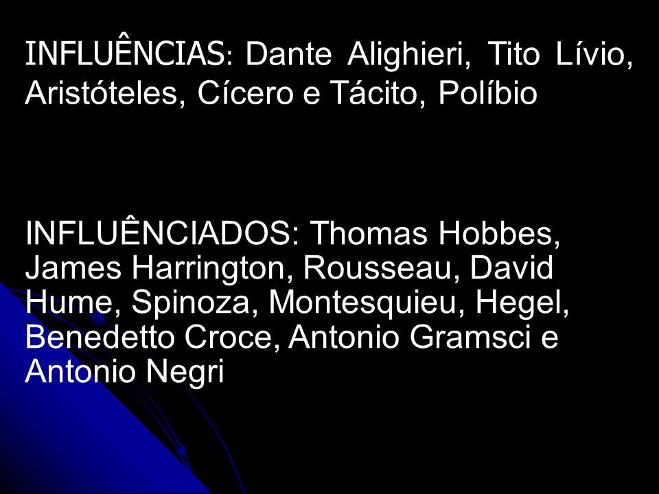 INFLUÊNCIAS : Dante Alighieri, Tito Lívio, Aristóteles, Cícero e Tácito, Políbio INFLUÊNCIADOS: Thomas Hobbes, James Harrington, Rousseau, David Hume,