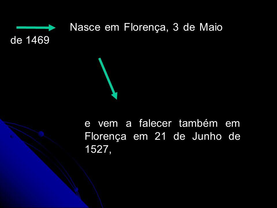 Nasce em Florença, 3 de Maio de 1469 e vem a falecer também em Florença em 21 de Junho de 1527,