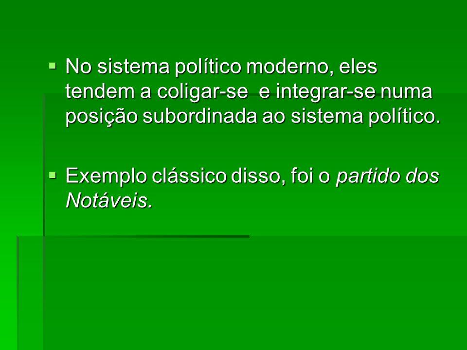 No sistema político moderno, eles tendem a coligar-se e integrar-se numa posição subordinada ao sistema político.
