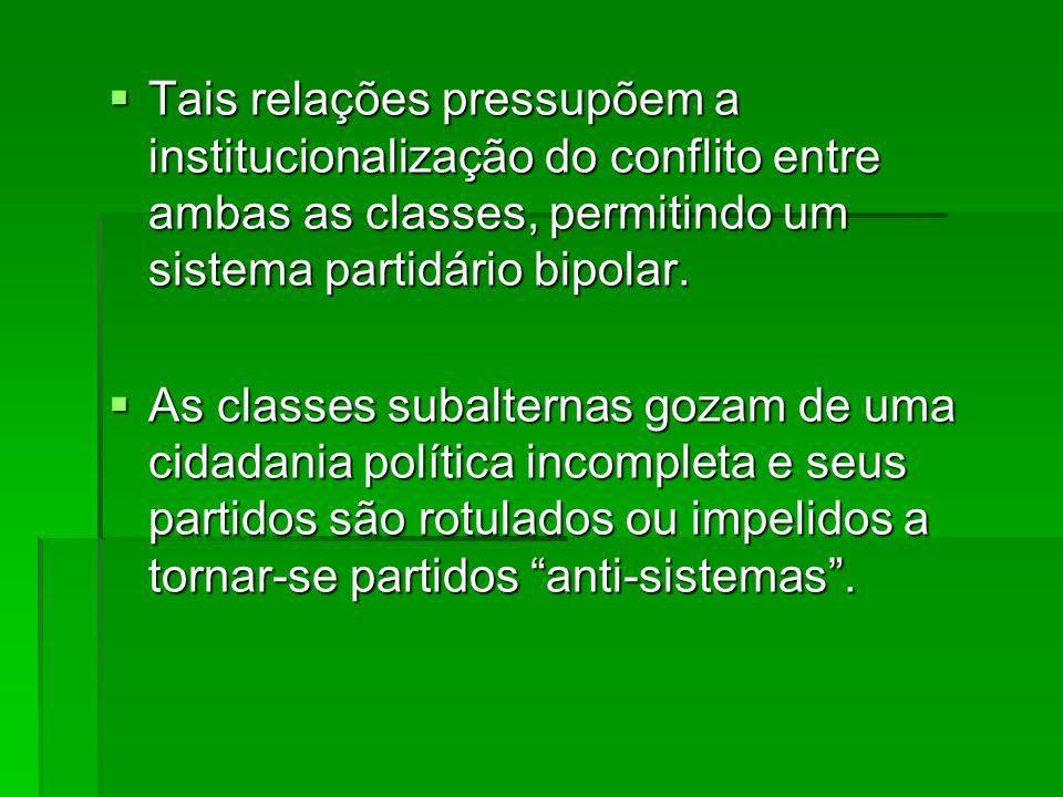 Tais relações pressupõem a institucionalização do conflito entre ambas as classes, permitindo um sistema partidário bipolar.