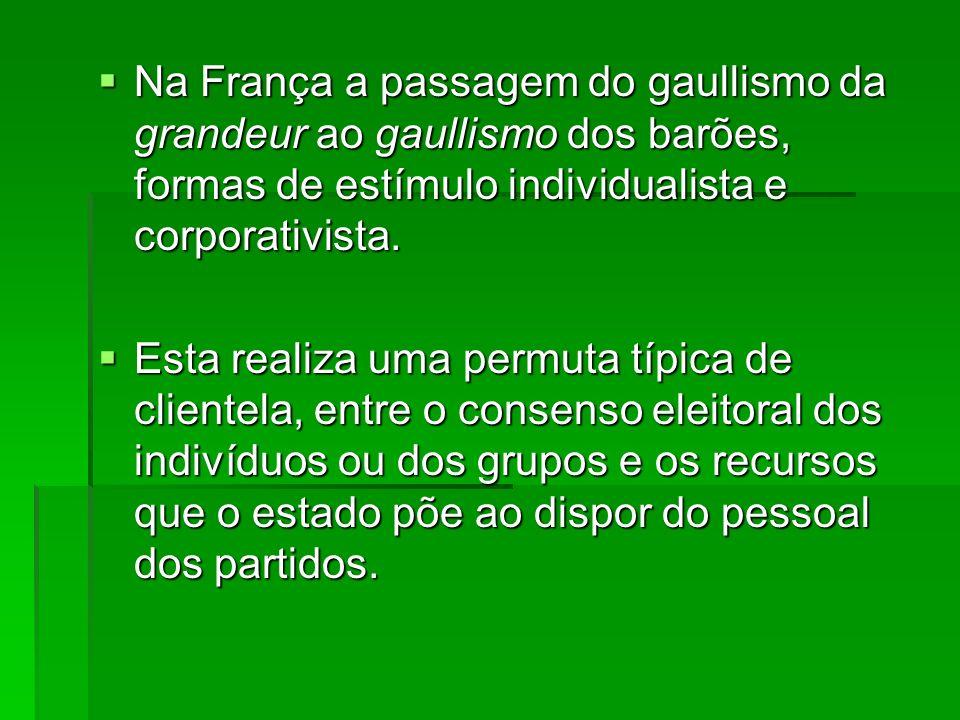 Na França a passagem do gaullismo da grandeur ao gaullismo dos barões, formas de estímulo individualista e corporativista.