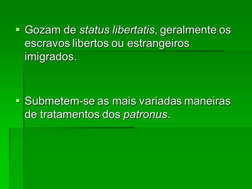 Gozam de status libertatis, geralmente os escravos libertos ou estrangeiros imigrados.