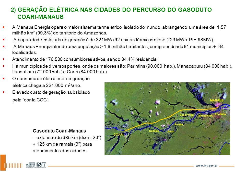 A Manaus Energia opera o maior sistema termelétrico isolado do mundo, abrangendo uma área de 1,57 milhão km 2 (99,3%) do território do Amazonas. A cap