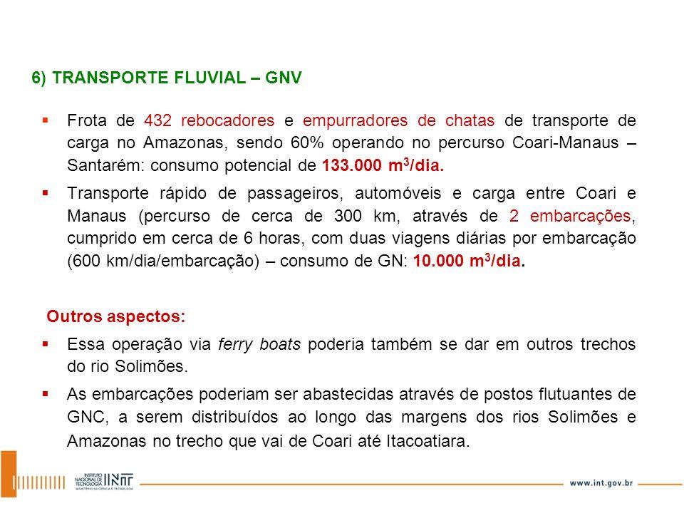 Frota de 432 rebocadores e empurradores de chatas de transporte de carga no Amazonas, sendo 60% operando no percurso Coari-Manaus – Santarém: consumo