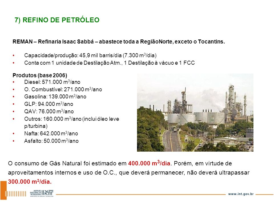 REMAN – Refinaria Isaac Sabbá – abastece toda a RegiãoNorte, exceto o Tocantins. Capacidade/produção: 45,9 mil barris/dia (7.300 m 3 /dia) Conta com 1