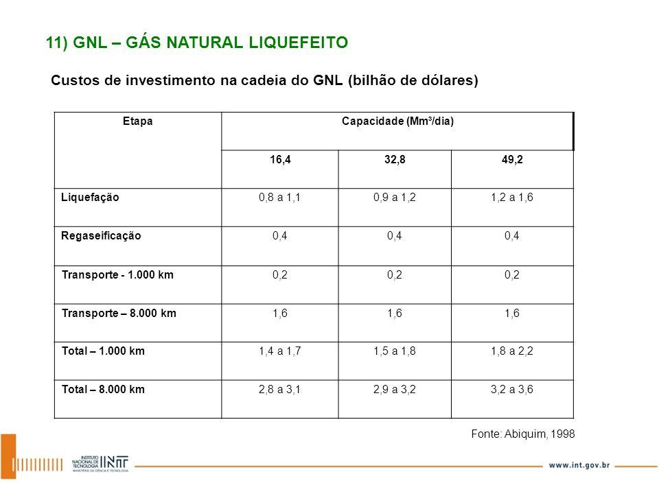 Custos de investimento na cadeia do GNL (bilhão de dólares) Fonte: Abiquim, 1998 EtapaCapacidade (Mm³/dia) 16,432,849,2 Liquefação0,8 a 1,10,9 a 1,21,