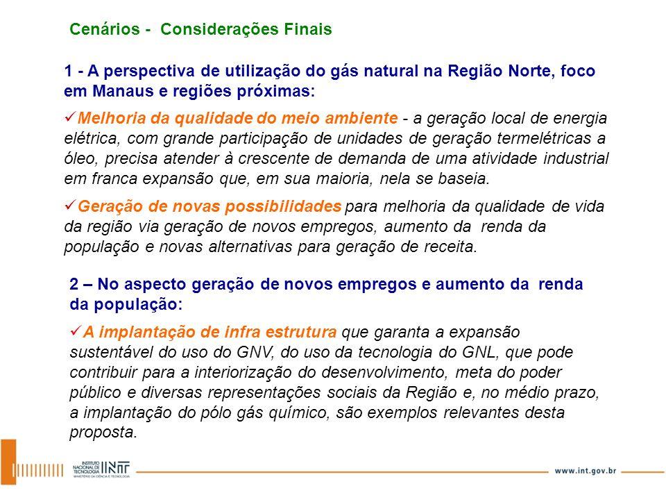 Cenários - Considerações Finais 1 - A perspectiva de utilização do gás natural na Região Norte, foco em Manaus e regiões próximas: 2 – No aspecto gera