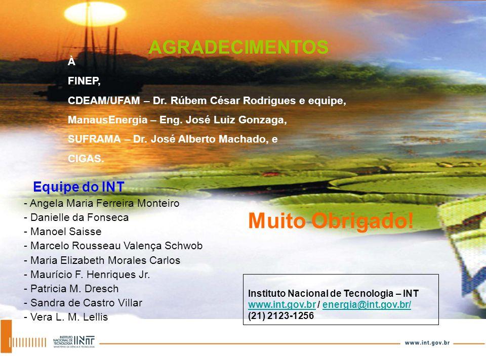 AGRADECIMENTOS À FINEP, CDEAM/UFAM – Dr. Rúbem César Rodrigues e equipe, ManausEnergia – Eng. José Luiz Gonzaga, SUFRAMA – Dr. José Alberto Machado, e