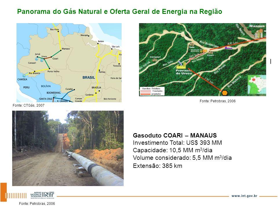 Gasoduto COARI – MANAUS Investimento Total: US$ 393 MM Capacidade: 10,5 MM m 3 /dia Volume considerado: 5,5 MM m 3 /dia Extensão: 385 km Panorama do G