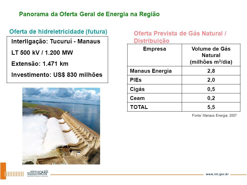 EmpresaVolume de Gás Natural (milhões m 3 /dia) Manaus Energia2,8 PIEs2,0 Cigás0,5 Ceam0,2 TOTAL5,5 Fonte: Manaus Energia, 2007 Panorama da Oferta Ger