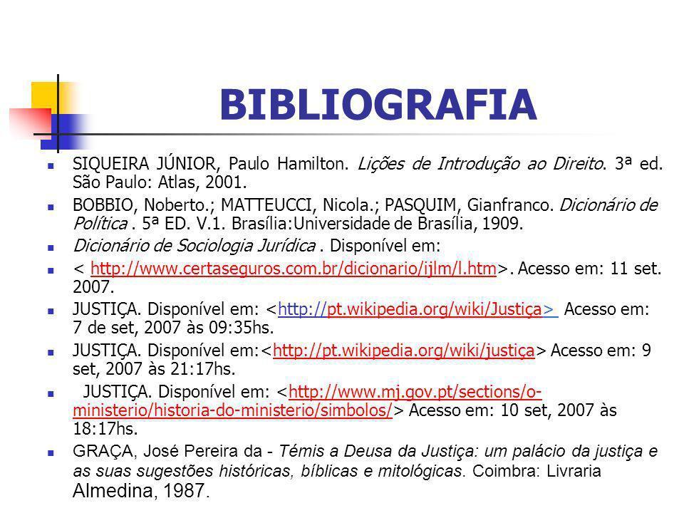 BIBLIOGRAFIA SIQUEIRA JÚNIOR, Paulo Hamilton.Lições de Introdução ao Direito.